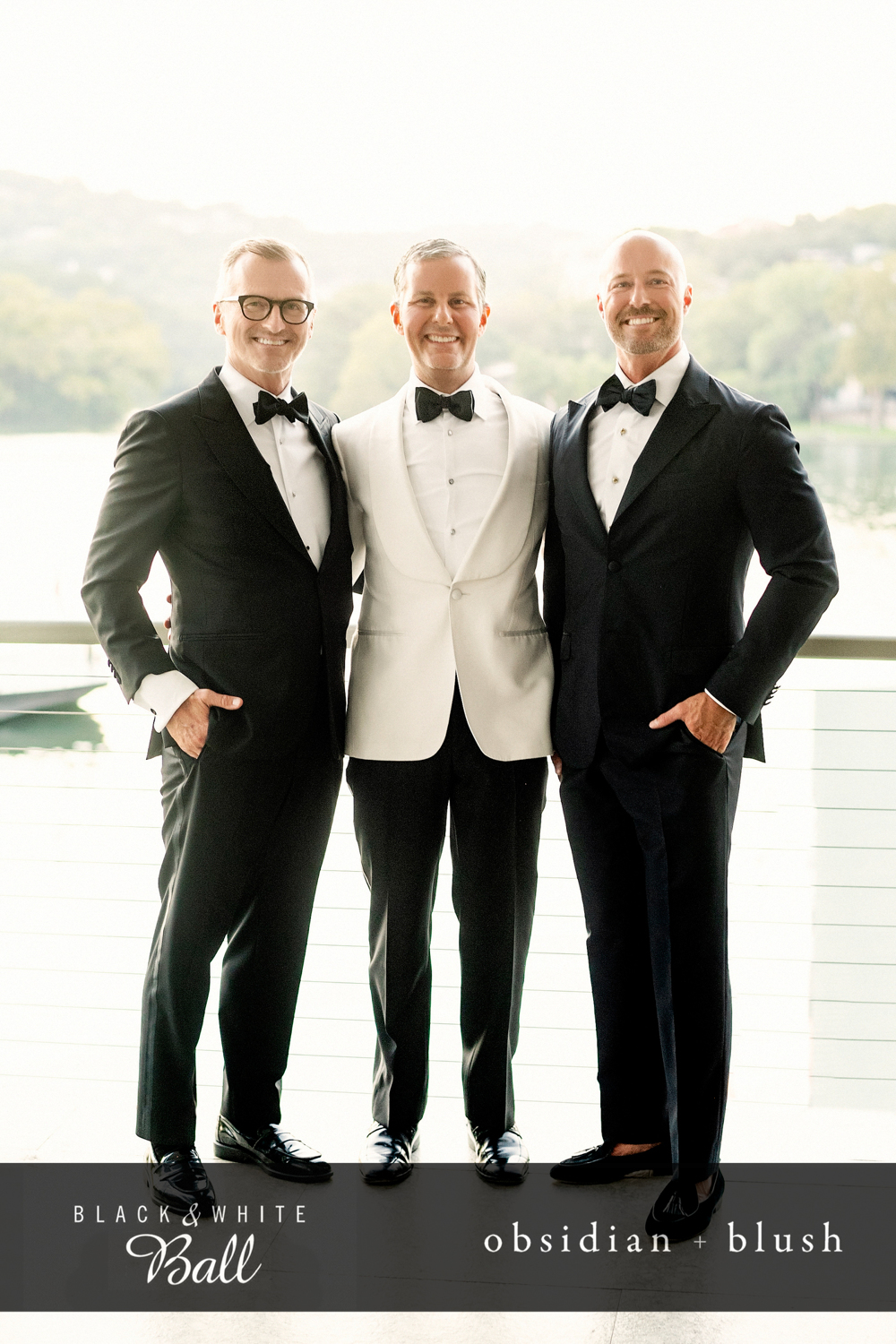 Dr. Piazza posing with two other men all in tuxedoes